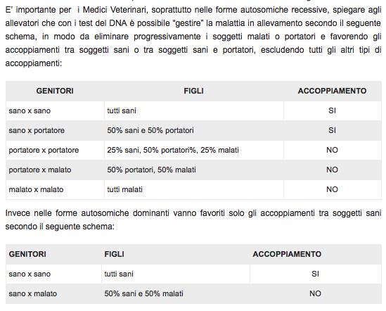Tabella con risultati degli accoppiamenti per gestire le malattie genetiche: sano x sano, sano x portatore, portatore x portatore, portatore x malato, malato x malato
