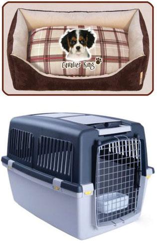 Trasportino e cuccia imbottita con immagine di cucciolo di Cavalier King